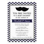Fiesta de bienvenida al bebé de Chevron del bigote Invitación