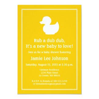 """Fiesta de bienvenida al bebé de goma amarilla de invitación 5"""" x 7"""""""