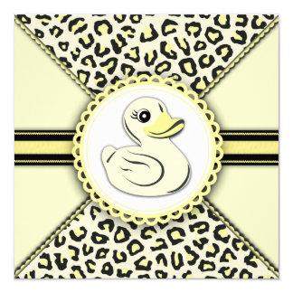 """Fiesta de bienvenida al bebé de goma amarilla invitación 5.25"""" x 5.25"""""""