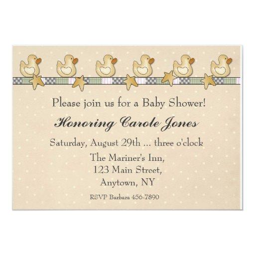 Fiesta de bienvenida al bebé de goma de Duckies Invitaciones Personalizada