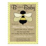 Fiesta de bienvenida al bebé de la abeja y de la a invitaciones personales