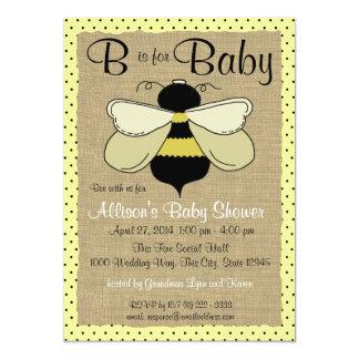 """Fiesta de bienvenida al bebé de la abeja y de la invitación 5"""" x 7"""""""