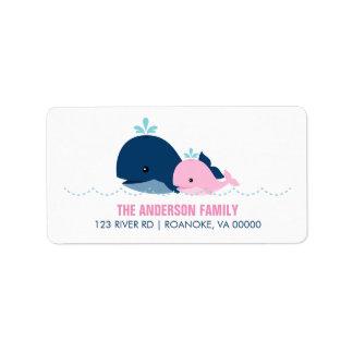Fiesta de bienvenida al bebé de la ballena de la etiquetas de dirección