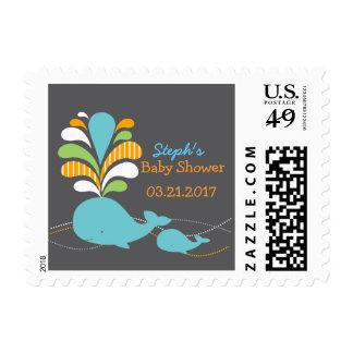 Fiesta de bienvenida al bebé de la ballena sello postal