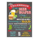 Fiesta de bienvenida al bebé de la cerveza y del invitación 12,7 x 17,8 cm