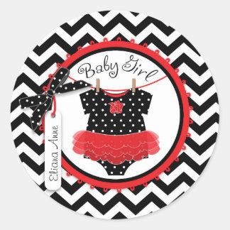 Fiesta de bienvenida al bebé de la impresión de pegatina redonda