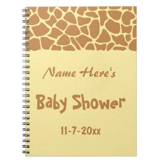Fiesta de bienvenida al bebé de la jirafa libros de apuntes