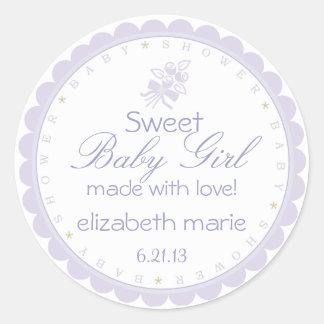 Fiesta de bienvenida al bebé de la lavanda etiquetas redondas
