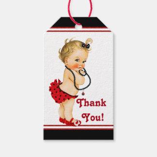 Fiesta de bienvenida al bebé de la mariquita etiquetas para regalos