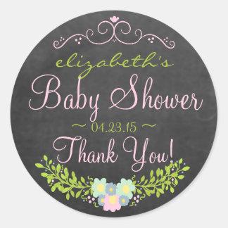 Fiesta de bienvenida al bebé de la mirada de la pegatina redonda