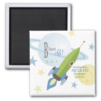 Fiesta de bienvenida al bebé de la nave espacial y iman de frigorífico