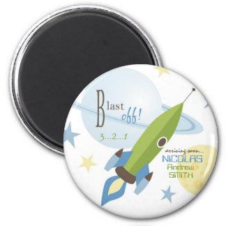 Fiesta de bienvenida al bebé de la nave espacial y imán de frigorifico
