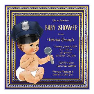 """Fiesta de bienvenida al bebé de la policía invitación 5.25"""" x 5.25"""""""
