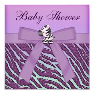 """Fiesta de bienvenida al bebé de la púrpura de la invitación 5.25"""" x 5.25"""""""