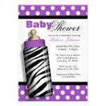 Fiesta de bienvenida al bebé de la púrpura del bib invitacion personalizada