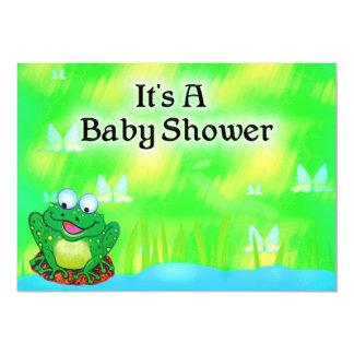 Fiesta de bienvenida al bebé de la rana invitación 12,7 x 17,8 cm