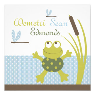 Fiesta de bienvenida al bebé de la rana y de la li anuncio personalizado