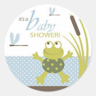 Fiesta de bienvenida al bebé de la rana y de la pegatina redonda