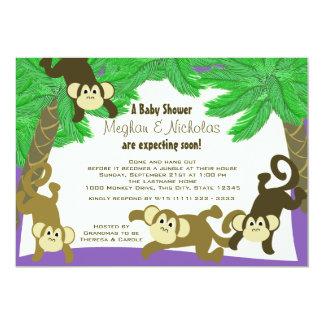 """Fiesta de bienvenida al bebé de la selva del mono invitación 5"""" x 7"""""""