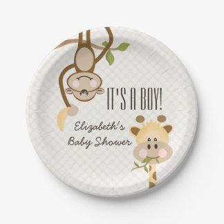 Fiesta de bienvenida al bebé de la selva del platos de papel