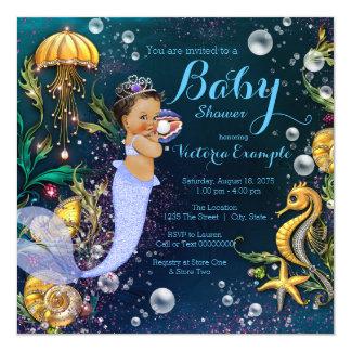 """Fiesta de bienvenida al bebé de la sirena invitación 5.25"""" x 5.25"""""""