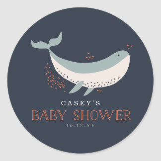 Fiesta de bienvenida al bebé de la vida marina pegatina redonda