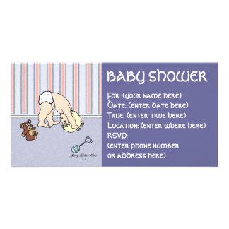 Fiesta de bienvenida al bebé de la voltereta del b tarjeta personal