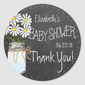 Fiesta de bienvenida al bebé de las flores blancas pegatina redonda