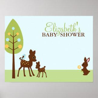 Fiesta de bienvenida al bebé de los animales del poster