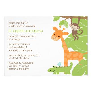 Fiesta de bienvenida al bebé de los animales del s comunicado personalizado