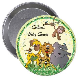 Fiesta de bienvenida al bebé de los animales el | pin redondo de 4 pulgadas