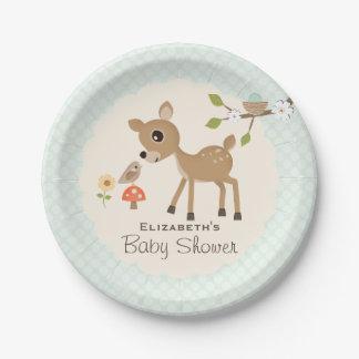 Fiesta de bienvenida al bebé de los ciervos del plato de papel de 7 pulgadas