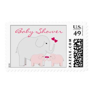 Fiesta de bienvenida al bebé de los elefantes para sello postal
