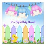 Fiesta de bienvenida al bebé de los tríos invitaciones personales