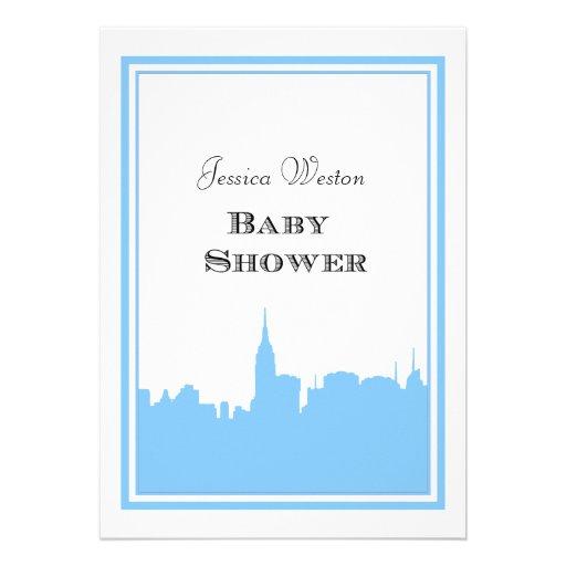 Fiesta de bienvenida al bebé de Lt Blue Silhouette Invitación Personalizada