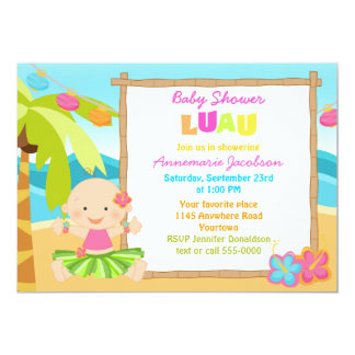 """Fiesta de bienvenida al bebé de Lua de los chicas Invitación 5"""" X 7"""""""