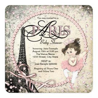 """Fiesta de bienvenida al bebé de París del vintage Invitación 5.25"""" X 5.25"""""""
