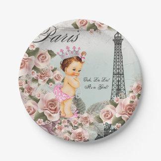 Fiesta de bienvenida al bebé de París del vintage Plato De Papel De 7 Pulgadas