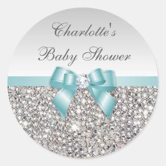 Fiesta de bienvenida al bebé de plata del diamante pegatina redonda