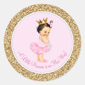 Fiesta de bienvenida al bebé de princesa Pink Gold Pegatina Redonda
