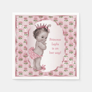 Fiesta de bienvenida al bebé de princesa Pink Rose Servilletas Desechables