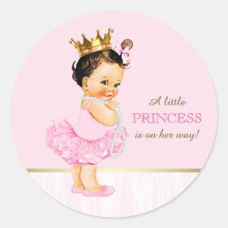 Fiesta de bienvenida al bebé de princesa Tutu de Pegatina Redonda