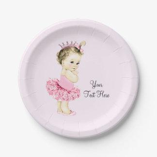 Fiesta de bienvenida al bebé de princesa Tutu Plato De Papel De 7 Pulgadas