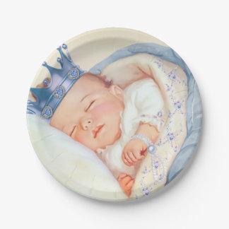 Fiesta de bienvenida al bebé de príncipe Boy del Platos De Papel