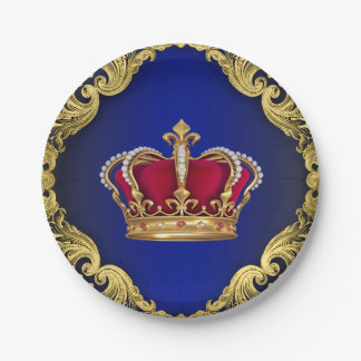 Fiesta de bienvenida al bebé de príncipe Crown Plato De Papel De 7 Pulgadas