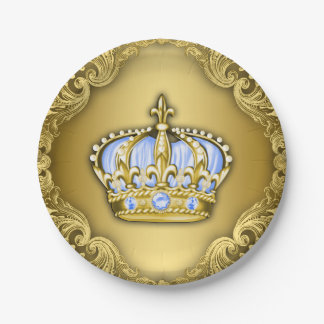 Fiesta de bienvenida al bebé de príncipe Crown Platos De Papel