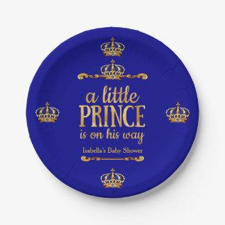 Fiesta de bienvenida al bebé de príncipe On His Plato De Papel De 7 Pulgadas