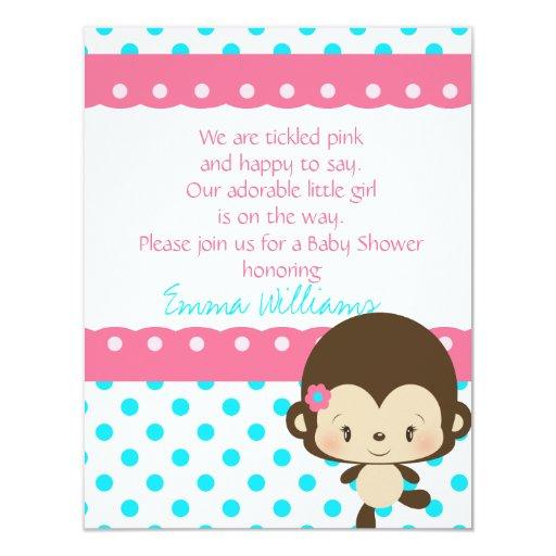 Fiesta de bienvenida al bebé de Srta. Monkey de Invitación Personalizada