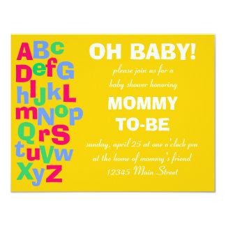 """Fiesta de bienvenida al bebé del alfabeto invitación 4.25"""" x 5.5"""""""