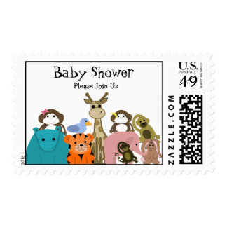 Fiesta de bienvenida al bebé del animal del parque sellos postales